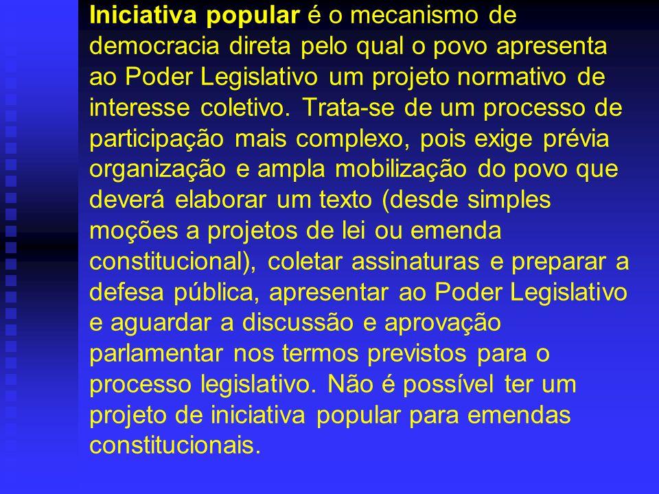 Iniciativa popular é o mecanismo de democracia direta pelo qual o povo apresenta ao Poder Legislativo um projeto normativo de interesse coletivo. Trat