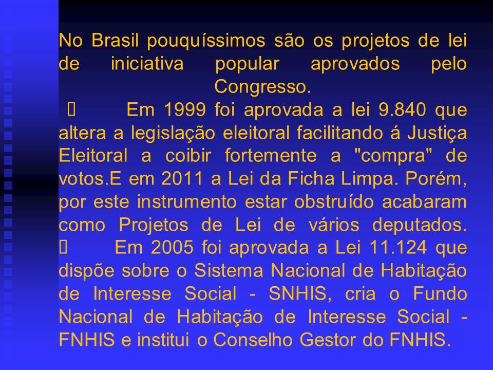 No Brasil pouquíssimos são os projetos de lei de iniciativa popular aprovados pelo Congresso. Em 1999 foi aprovada a lei 9.840 que altera a legislação