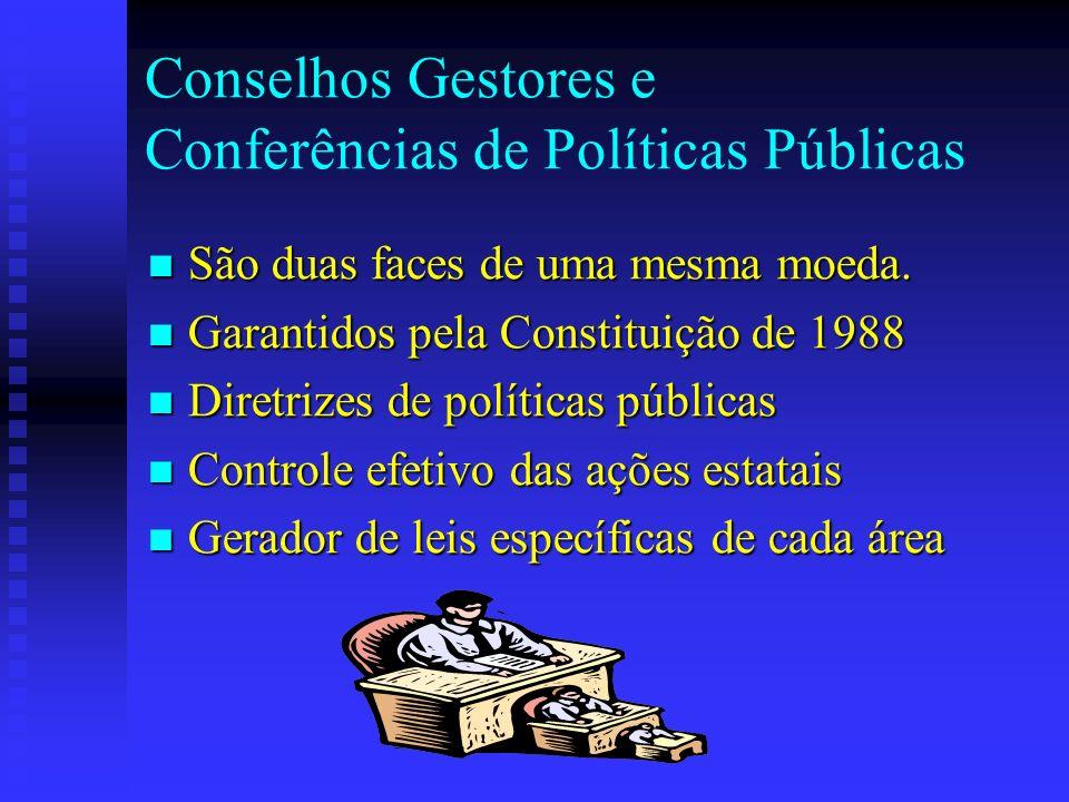 Conselhos Gestores e Conferências de Políticas Públicas São duas faces de uma mesma moeda. São duas faces de uma mesma moeda. Garantidos pela Constitu