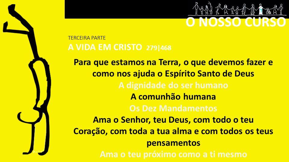 24 OUT |APRESENTAÇÃO PARA QUE ESTAMOS NA TERRA, O QUE DEVEMOS FAZER E COMO NOS AJUDA O ESPÍRITO SANTO DE DEUS A DIGNIDADE DO SER HUMANO I 07 NOV | A DIGNIDADE DO SER HUMANO II 21 NOV | A COMUNHÃO HUMANA 05 DEZ | OS DEZ MANDAMENTOS Capítulo I Ama o Senhor teu Deus… (1º, 2º, 3º) 19 DEZ | Capítulo II AMA O TEU PRÓXIMO COMO A TI MESMO I (4º e 5º) 09 JAN |Capítulo II AMA O TEU PRÓXIMO COMO A TI MESMO II (6º e 9º) 23 JAN | Capítulo II AMA O TEU PRÓXIMO COMO A TI MESMO III (7º, 8º, e 10º) DATAS TERCEIRA PARTE A VIDA EM CRISTO DATAS