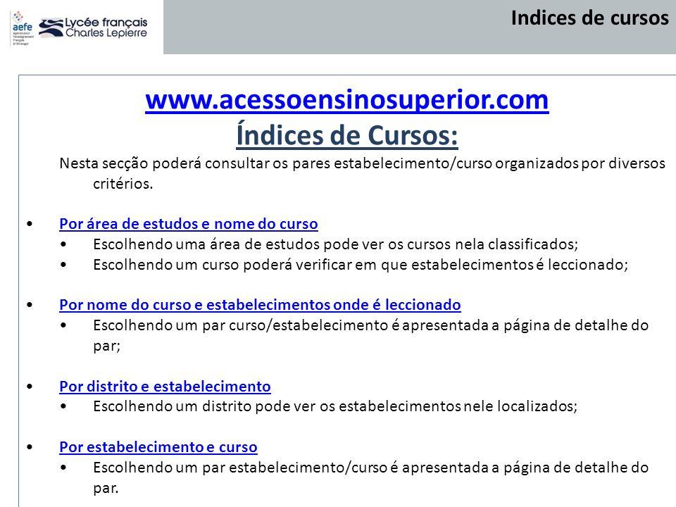 www.acessoensinosuperior.com Índices de Cursos: Nesta secção poderá consultar os pares estabelecimento/curso organizados por diversos critérios. Por á