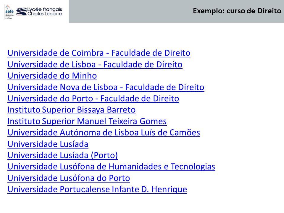 Universidade de Coimbra - Faculdade de Direito Universidade de Lisboa - Faculdade de Direito Universidade do Minho Universidade Nova de Lisboa - Facul