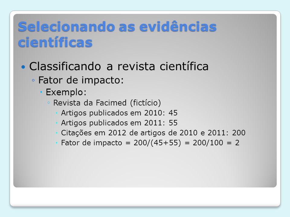 Selecionando as evidências científicas Classificando a revista científica Fator de impacto: Exemplo: Revista da Facimed (fictício) Artigos publicados