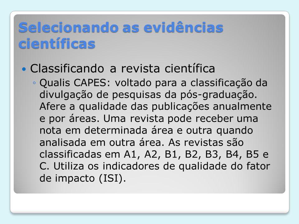 Selecionando as evidências científicas Classificando a revista científica Qualis CAPES: voltado para a classificação da divulgação de pesquisas da pós