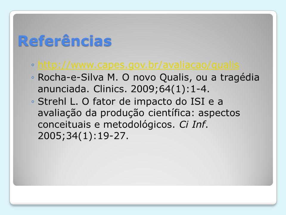 Referências http://www.capes.gov.br/avaliacao/qualis Rocha-e-Silva M. O novo Qualis, ou a tragédia anunciada. Clinics. 2009;64(1):1-4. Strehl L. O fat
