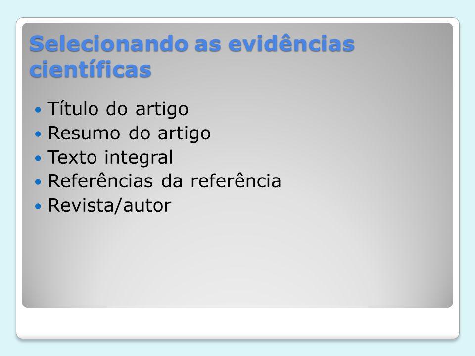 Selecionando as evidências científicas Título do artigo Resumo do artigo Texto integral Referências da referência Revista/autor