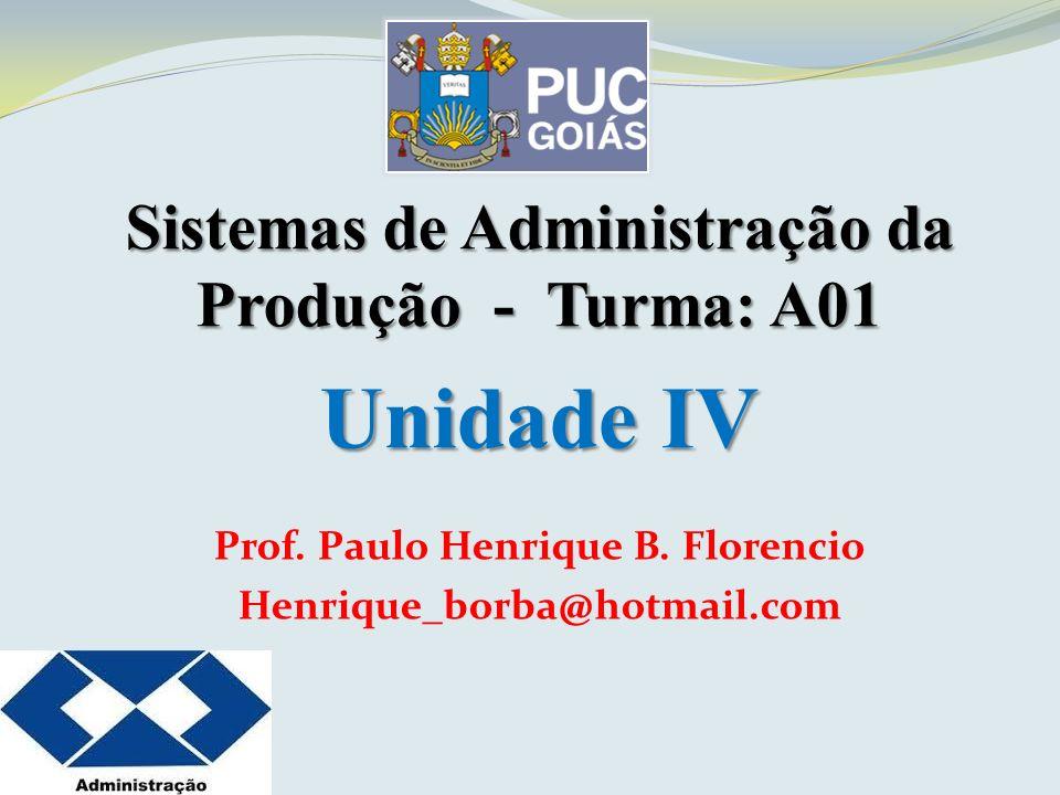 Sistemas de Administração da Produção - Turma: A01 Unidade IV Prof. Paulo Henrique B. Florencio Henrique_borba@hotmail.com