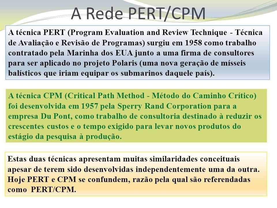 A Rede PERT/CPM A técnica PERT (Program Evaluation and Review Technique - Técnica de Avaliação e Revisão de Programas) surgiu em 1958 como trabalho co