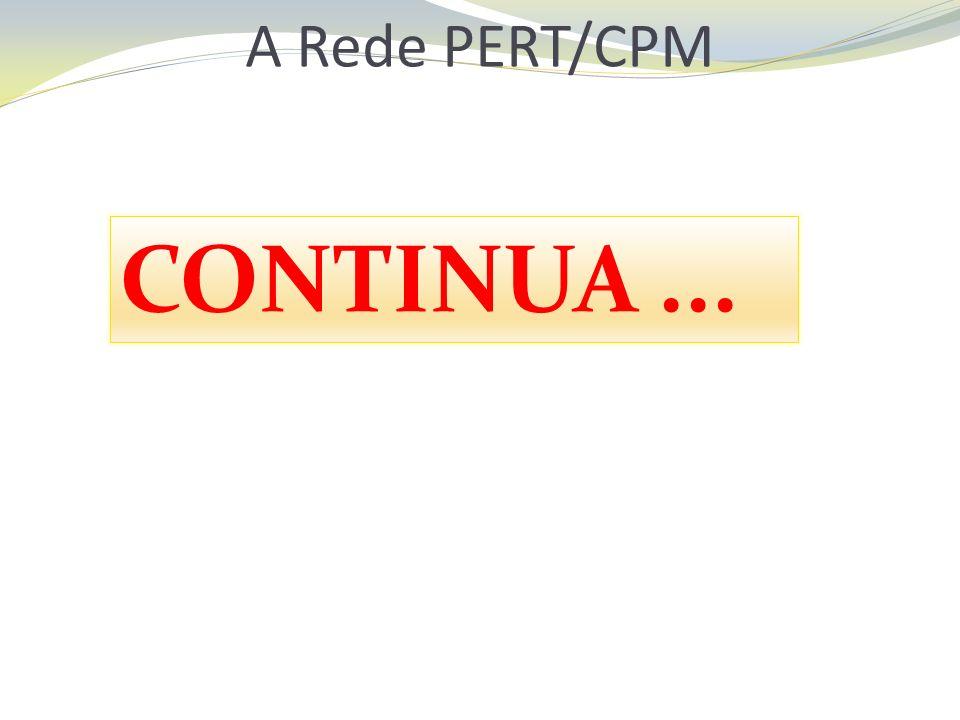A Rede PERT/CPM CONTINUA...