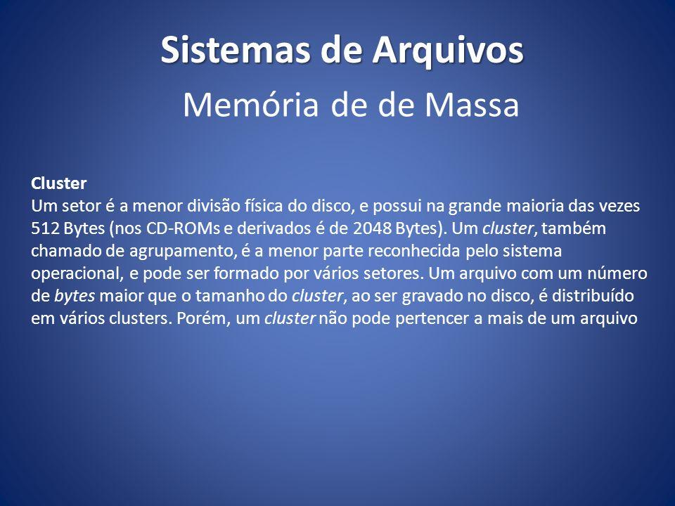 Sistemas de Arquivos Cluster Um setor é a menor divisão física do disco, e possui na grande maioria das vezes 512 Bytes (nos CD-ROMs e derivados é de