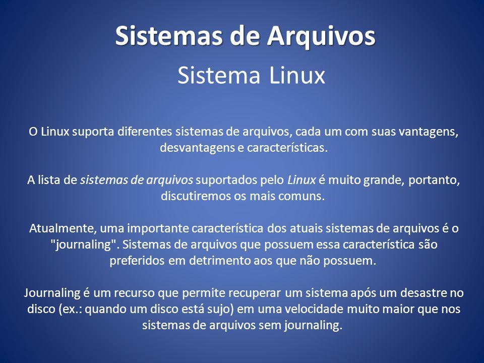 Sistemas de Arquivos MS-Dos FAT16 Windows 95 OSR2 e Windows 98 FAT16, FAT32 Windows NT4 FAT, NTFS (version 4) Windows 2000/XP/Vista/7 FAT, FAT16, FAT32, NTFS (versão 4 e 5) Linux Ext2, Ext3, ReiserFS, Linux Swap(, FAT16, FAT32, NTFS) Sistema operacional Tipos de sistema de arquivos suportados