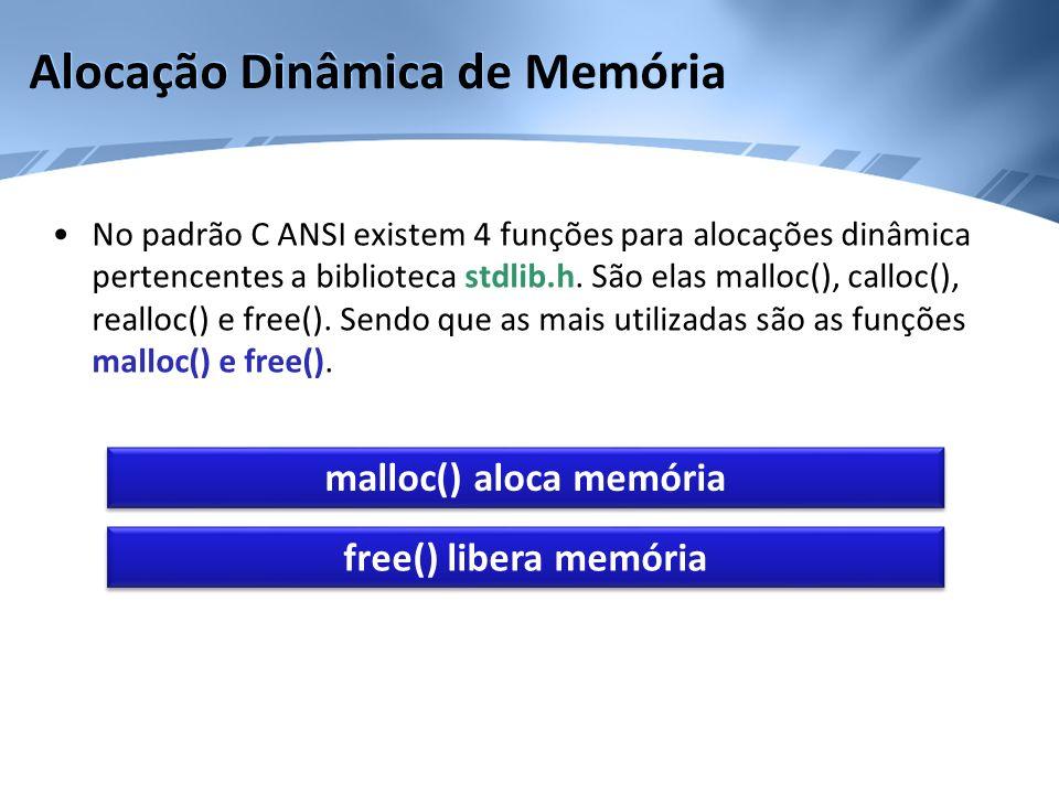 Alocação Dinâmica de Memória No padrão C ANSI existem 4 funções para alocações dinâmica pertencentes a biblioteca stdlib.h. São elas malloc(), calloc(