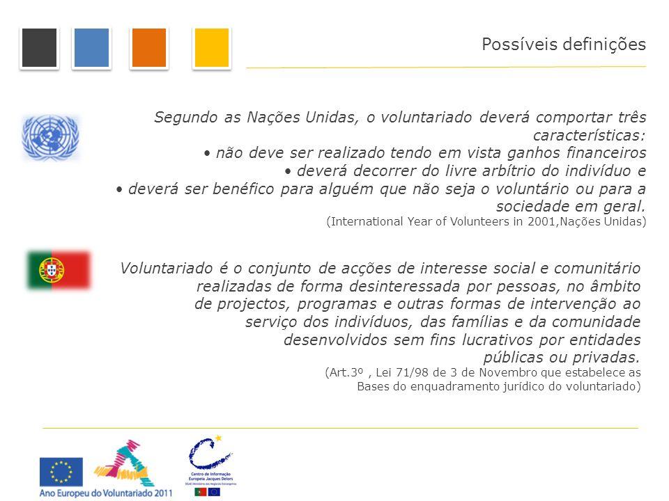 Possíveis definições Segundo as Nações Unidas, o voluntariado deverá comportar três características: não deve ser realizado tendo em vista ganhos fina