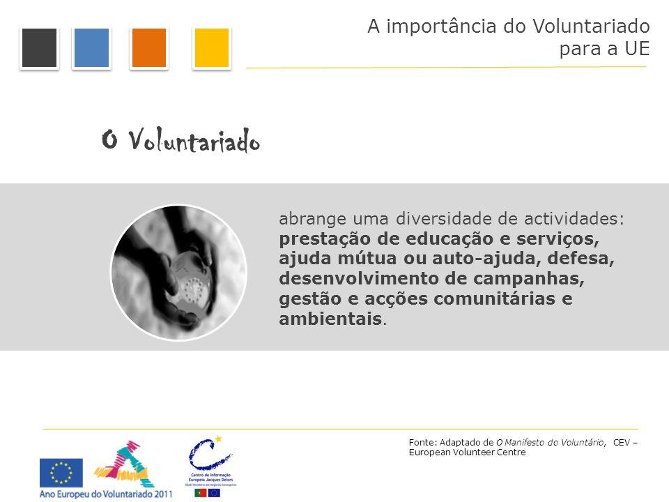 A importância do Voluntariado para a UE O Voluntariado abrange uma diversidade de actividades: prestação de educação e serviços, ajuda mútua ou auto-a