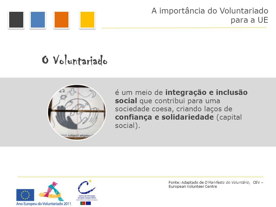 A importância do Voluntariado para a UE O Voluntariado é um meio de integração e inclusão social que contribui para uma sociedade coesa, criando laços