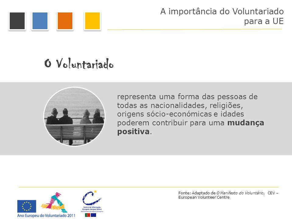 A importância do Voluntariado para a UE O Voluntariado representa uma forma das pessoas de todas as nacionalidades, religiões, origens sócio-económica