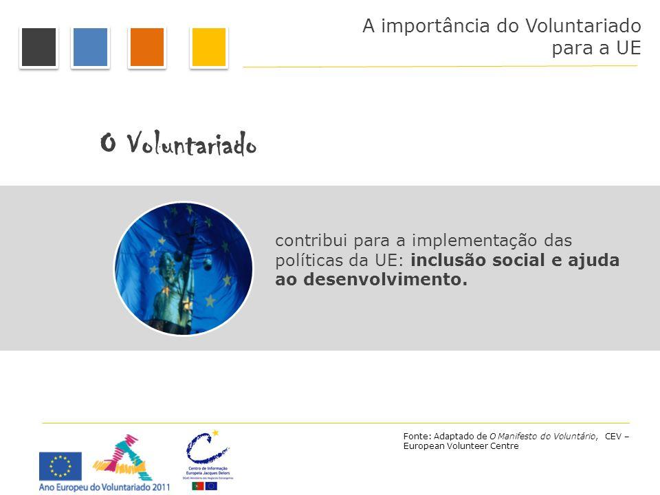 A importância do Voluntariado para a UE O Voluntariado contribui para a implementação das políticas da UE: inclusão social e ajuda ao desenvolvimento.