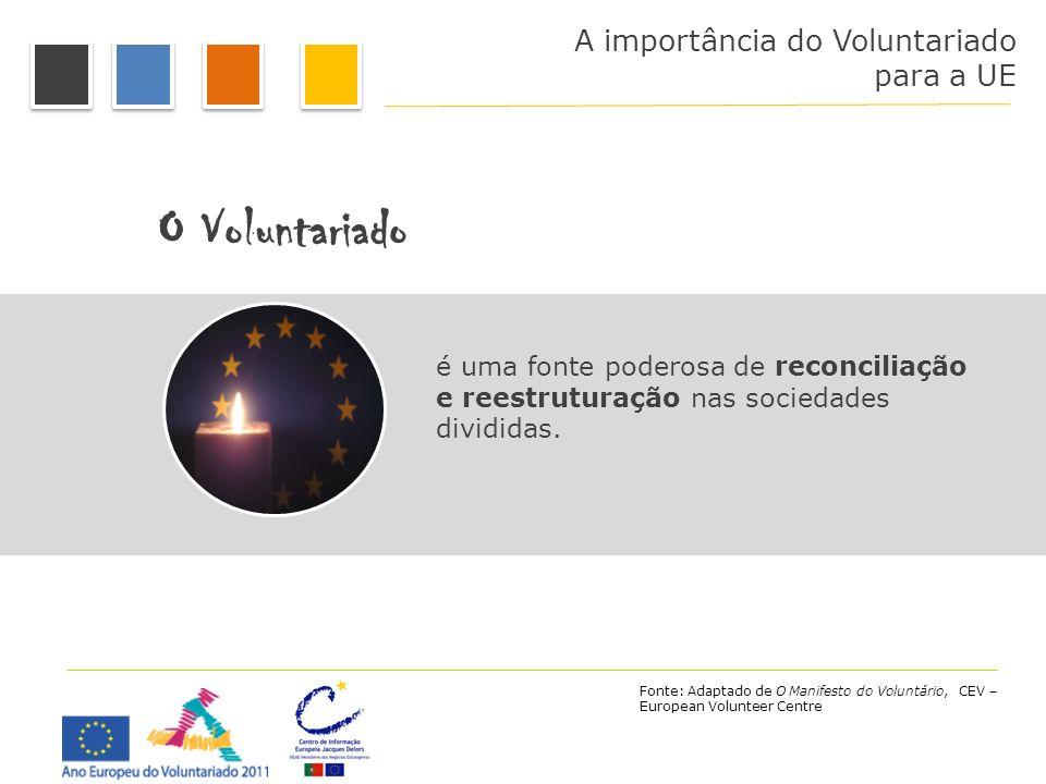 A importância do Voluntariado para a UE O Voluntariado é uma fonte poderosa de reconciliação e reestruturação nas sociedades divididas. Fonte: Adaptad