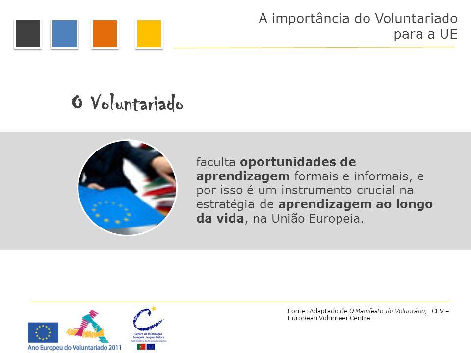 A importância do Voluntariado para a UE O Voluntariado faculta oportunidades de aprendizagem formais e informais, e por isso é um instrumento crucial