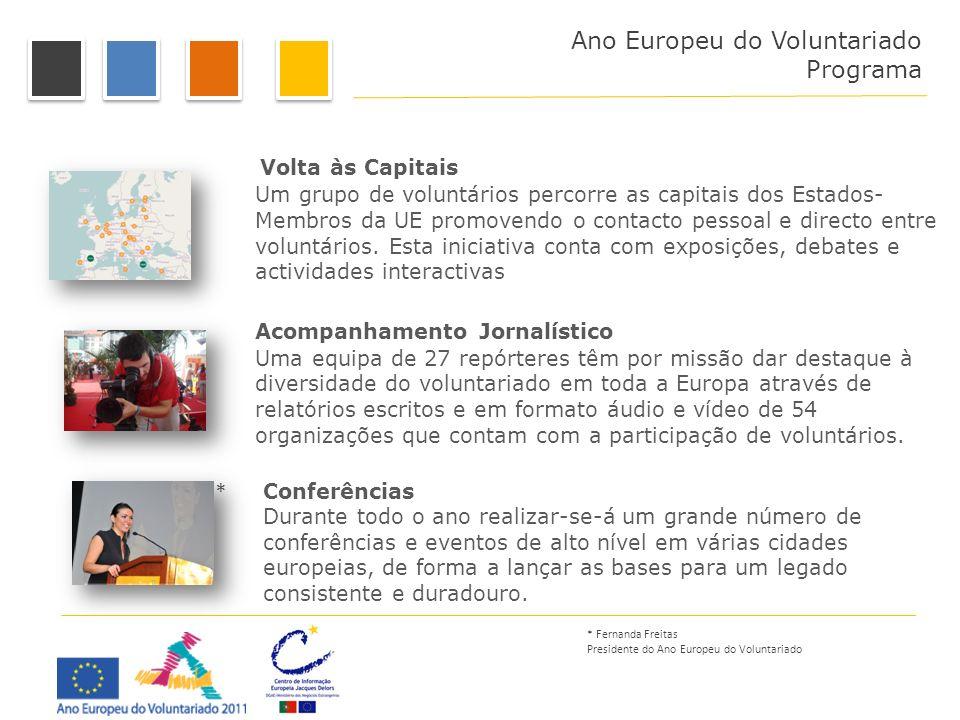 Programa Volta às Capitais Um grupo de voluntários percorre as capitais dos Estados- Membros da UE promovendo o contacto pessoal e directo entre volun