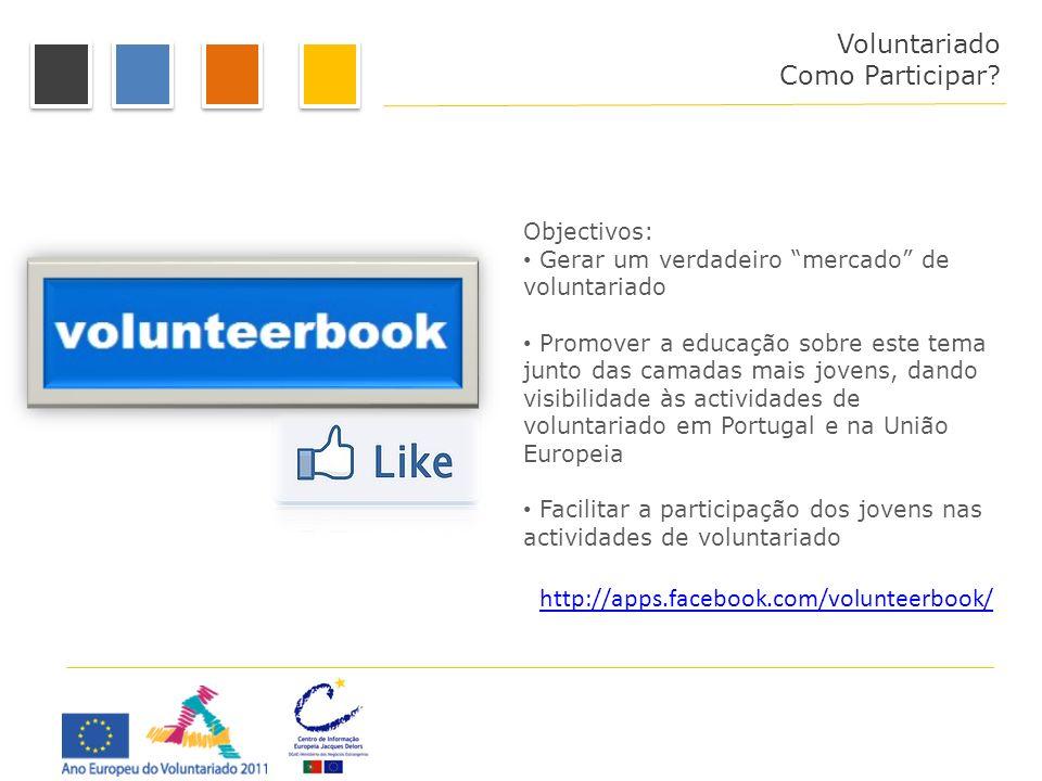 Voluntariado Como Participar? Objectivos: Gerar um verdadeiro mercado de voluntariado Promover a educação sobre este tema junto das camadas mais joven