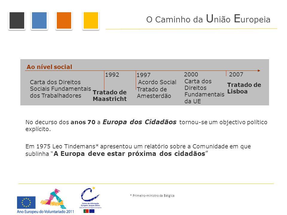 Ao nível social Carta dos Direitos Sociais Fundamentais dos Trabalhadores Acordo Social Carta dos Direitos Fundamentais da UE 1992 Tratado de Maastric