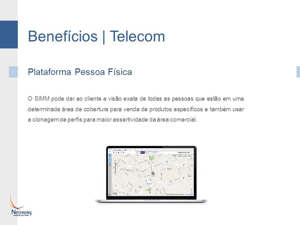 Benefícios | Telecom Plataforma Pessoa Física O SIMM pode dar ao cliente a visão exata de todas as pessoas que estão em uma determinada área de cobert