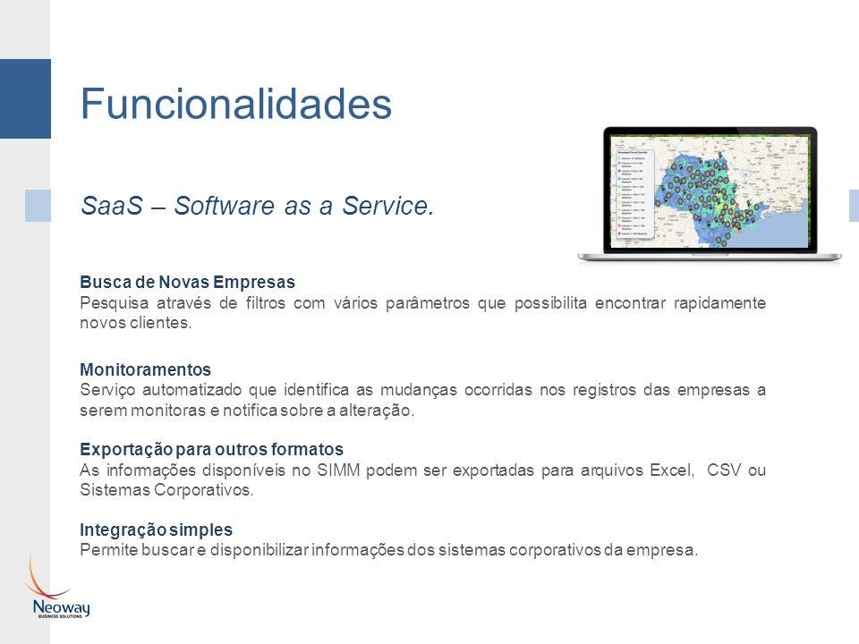 Funcionalidades SaaS – Software as a Service. Busca de Novas Empresas Pesquisa através de filtros com vários parâmetros que possibilita encontrar rapi