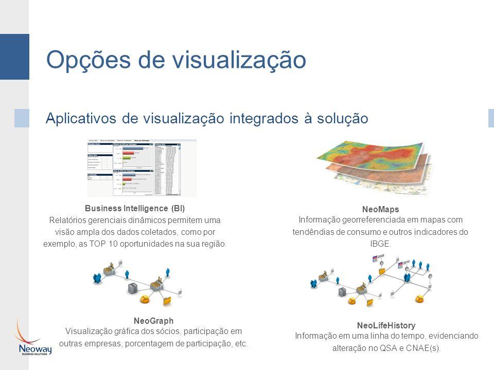 Opções de visualização NeoGraph Visualização gráfica dos sócios, participação em outras empresas, porcentagem de participação, etc. NeoLifeHistory Inf