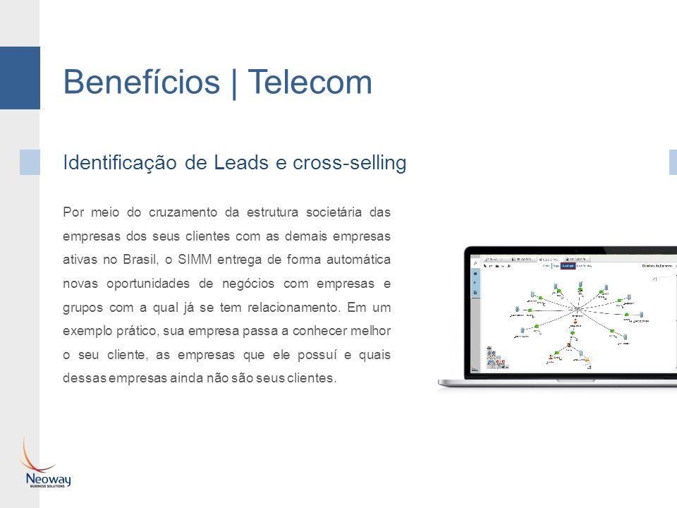 Benefícios | Telecom Identificação de Leads e cross-selling Por meio do cruzamento da estrutura societária das empresas dos seus clientes com as demai