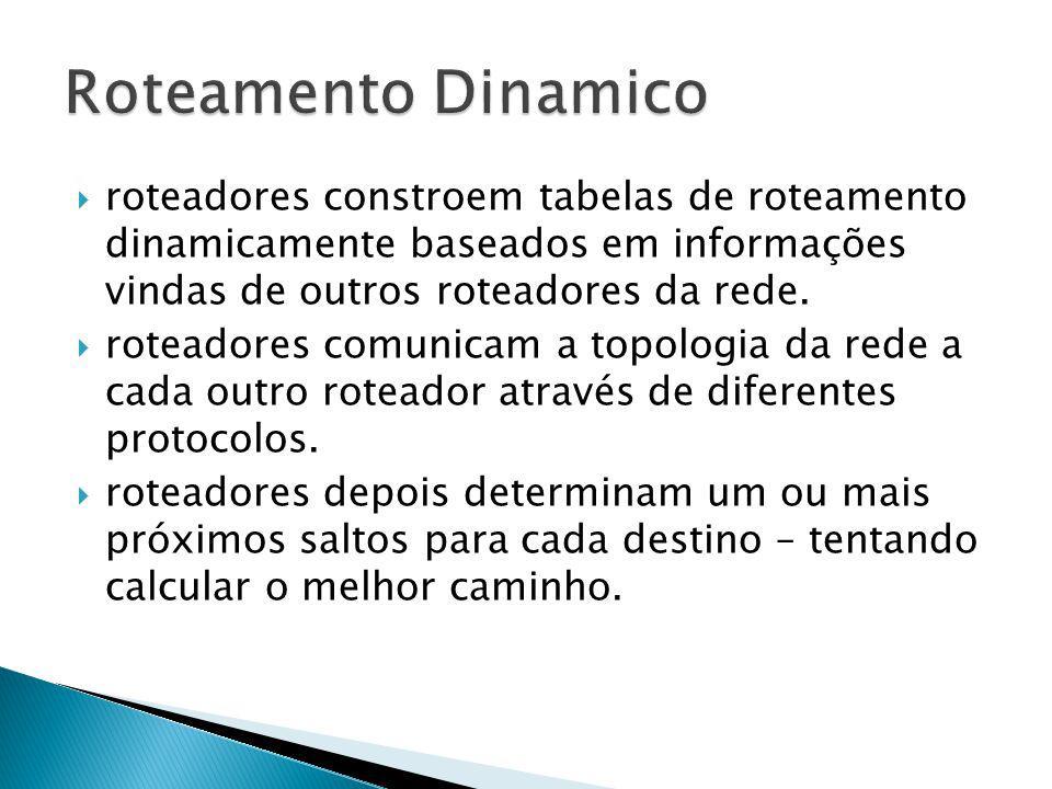 roteadores constroem tabelas de roteamento dinamicamente baseados em informações vindas de outros roteadores da rede. roteadores comunicam a topologia