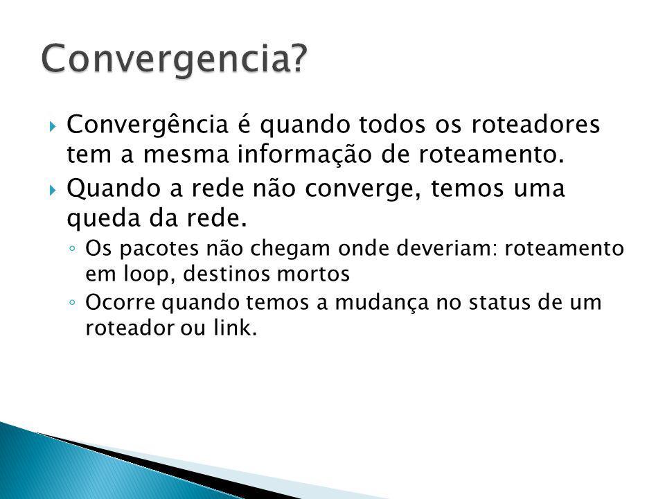 Convergência é quando todos os roteadores tem a mesma informação de roteamento. Quando a rede não converge, temos uma queda da rede. Os pacotes não ch