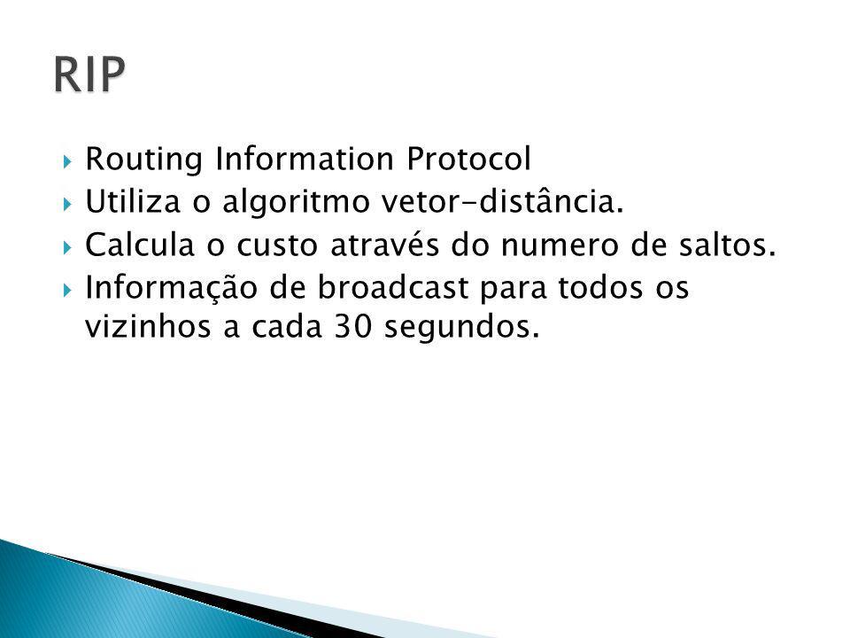 Routing Information Protocol Utiliza o algoritmo vetor-distância. Calcula o custo através do numero de saltos. Informação de broadcast para todos os v