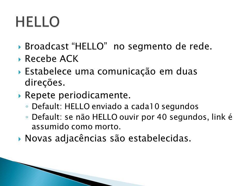 Broadcast HELLO no segmento de rede. Recebe ACK Estabelece uma comunicação em duas direções. Repete periodicamente. Default: HELLO enviado a cada10 se