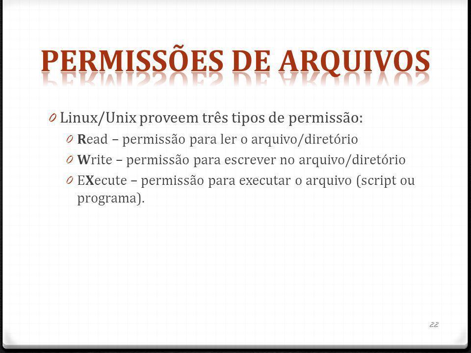 0 Linux/Unix proveem três tipos de permissão: 0 Read – permissão para ler o arquivo/diretório 0 Write – permissão para escrever no arquivo/diretório 0