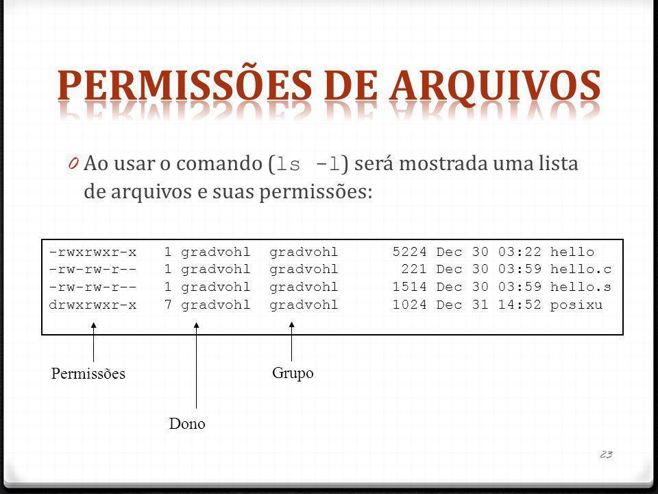 0 Ao usar o comando ( ls -l ) será mostrada uma lista de arquivos e suas permissões: -rwxrwxr-x 1 gradvohl gradvohl 5224 Dec 30 03:22 hello -rw-rw-r--