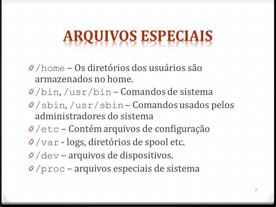 0 /home – Os diretórios dos usuários são armazenados no home. 0 /bin, /usr/bin – Comandos de sistema 0 /sbin, /usr/sbin – Comandos usados pelos admini