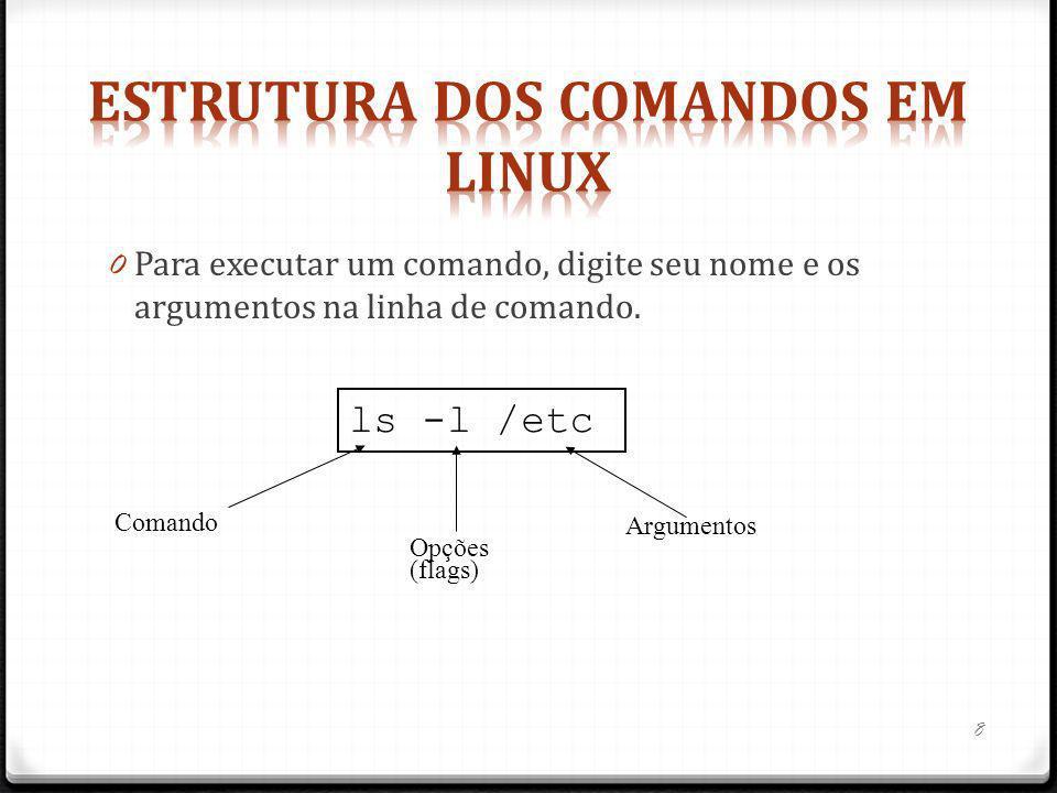 0 Para executar um comando, digite seu nome e os argumentos na linha de comando. ls -l /etc Comando Opções (flags) Argumentos 8