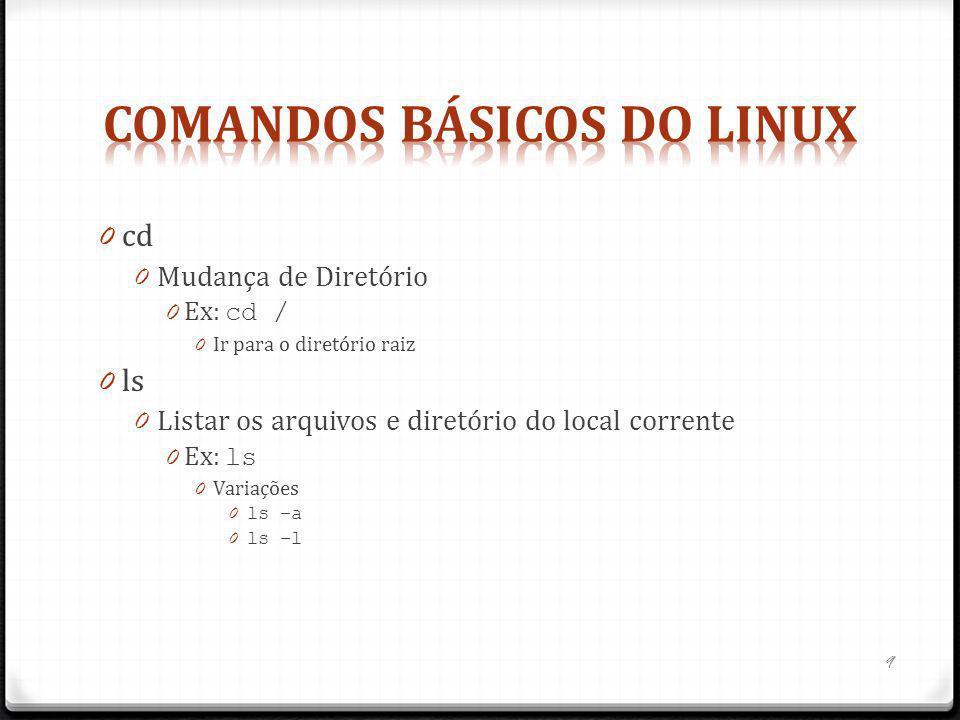 0 cd 0 Mudança de Diretório 0 Ex: cd / 0 Ir para o diretório raiz 0 ls 0 Listar os arquivos e diretório do local corrente 0 Ex: ls 0 Variações 0 ls –a