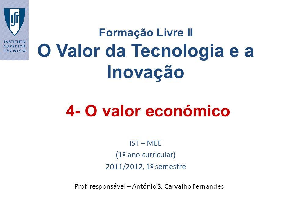 4- O valor económico Formação Livre II O Valor da Tecnologia e a Inovação IST – MEE (1º ano curricular) 2011/2012, 1º semestre Prof. responsável – Ant