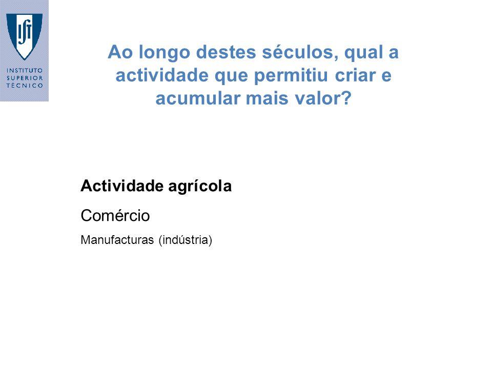 Ao longo destes séculos, qual a actividade que permitiu criar e acumular mais valor? Actividade agrícola Comércio Manufacturas (indústria)