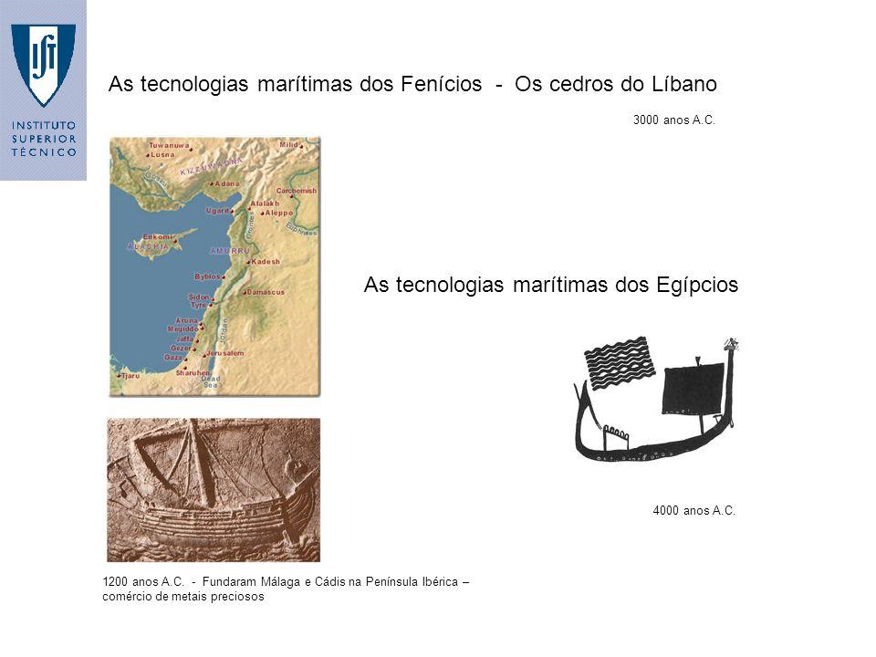 As tecnologias marítimas dos Fenícios - Os cedros do Líbano 3000 anos A.C. As tecnologias marítimas dos Egípcios 4000 anos A.C. 1200 anos A.C. - Funda
