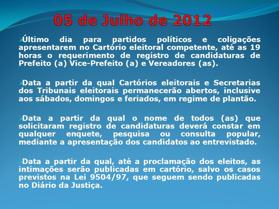 Último dia para partidos políticos e coligações apresentarem no Cartório eleitoral competente, até as 19 horas o requerimento de registro de candidaturas de Prefeito (a) Vice-Prefeito (a) e Vereadores (as).