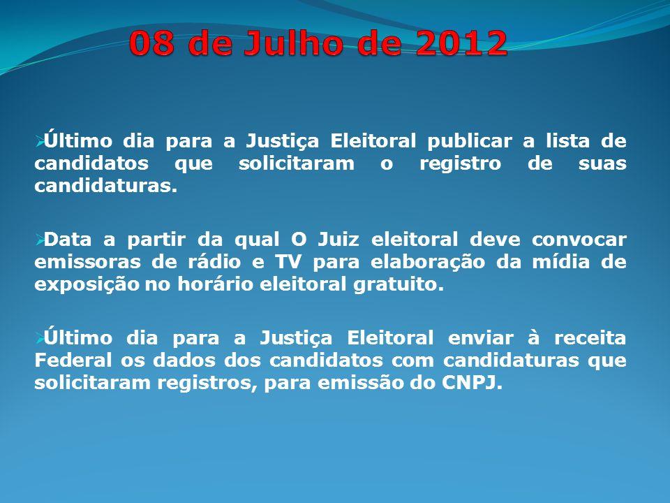 Último dia para a Justiça Eleitoral publicar a lista de candidatos que solicitaram o registro de suas candidaturas.