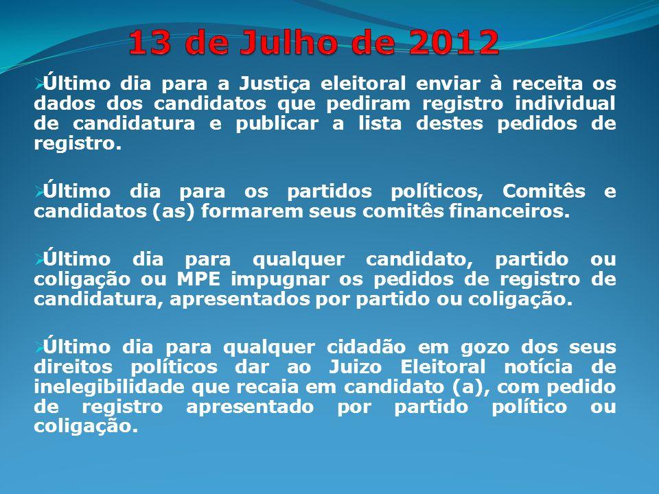 Último dia para a Justiça eleitoral enviar à receita os dados dos candidatos que pediram registro individual de candidatura e publicar a lista destes pedidos de registro.