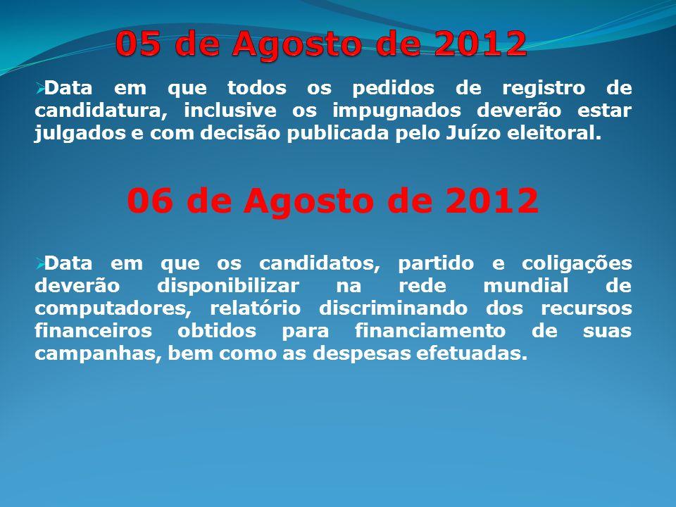 Data em que todos os pedidos de registro de candidatura, inclusive os impugnados deverão estar julgados e com decisão publicada pelo Juízo eleitoral.