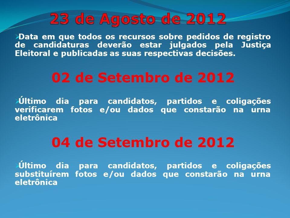 Data em que todos os recursos sobre pedidos de registro de candidaturas deverão estar julgados pela Justiça Eleitoral e publicadas as suas respectivas decisões.