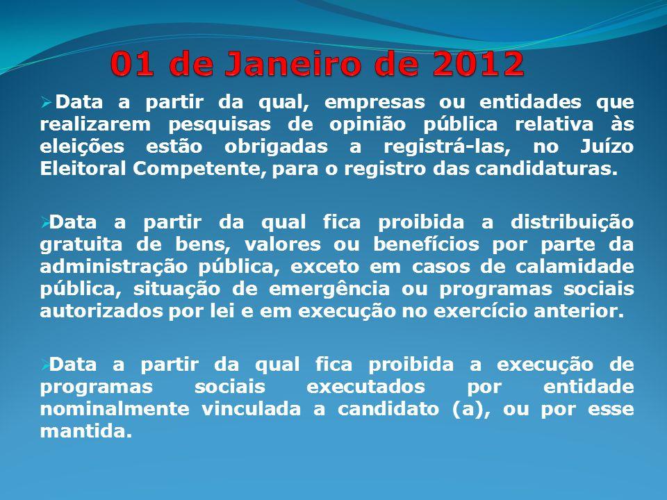 Data a partir da qual, empresas ou entidades que realizarem pesquisas de opinião pública relativa às eleições estão obrigadas a registrá-las, no Juízo Eleitoral Competente, para o registro das candidaturas.