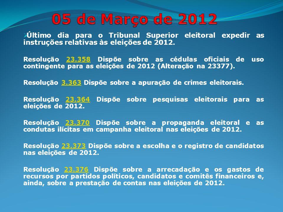 Último dia para o Tribunal Superior eleitoral expedir as instruções relativas às eleições de 2012.