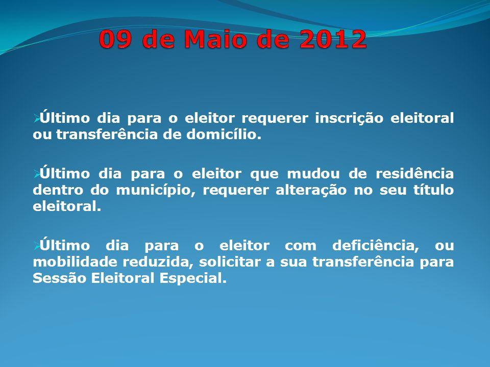 Último dia para o eleitor requerer inscrição eleitoral ou transferência de domicílio.